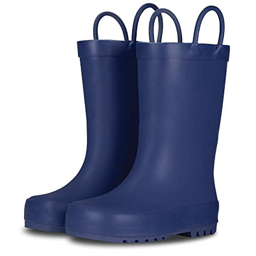 Price comparison product image LONECONE Elementary Collection - Premium Natural Rubber Rain Boots with Satin Finish for Toddlers and Kids,  Ribbon Blue,  Little Kid 13