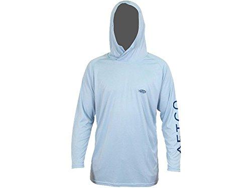 AFTCO Samurai Hooded Performance Long Sleeve Shirt - Sky - Medium - Crew Hooded T-shirt