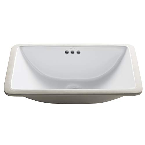 Best Prices! Kraus KCU-241 Elavo Bathroom Undermount Sink, 21, White