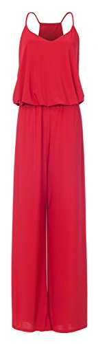 URBAN K Women's Plus and Regular Size Racer Back Jumpsuits and Rompers Red