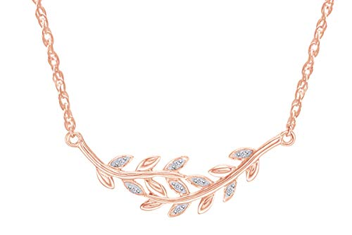 Samaira Jewelry Natural Diamond Accent Bypass Vines Horizontal Pendant Necklace in 14k Rose Gold Plated 925 Sterling Silver For Women (0.04 Cttw, I-J Color, I2-I3 Clarity)