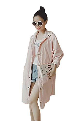 Outerwear Grazioso Monocromo Primaverile Leggero Donna Autunno Breasted Lunga Relaxed Fashion Giubotto Lunga Trench Pink BIRAN Casual Cappotto Eleganti Single Transizione di Manica aRv4wq