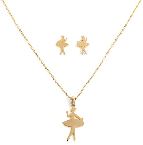 JGFinds Ballerina Pendant Necklace and Earrings Set, Gold Over Stainless Steel - Dance, Princess, Ballet Theme