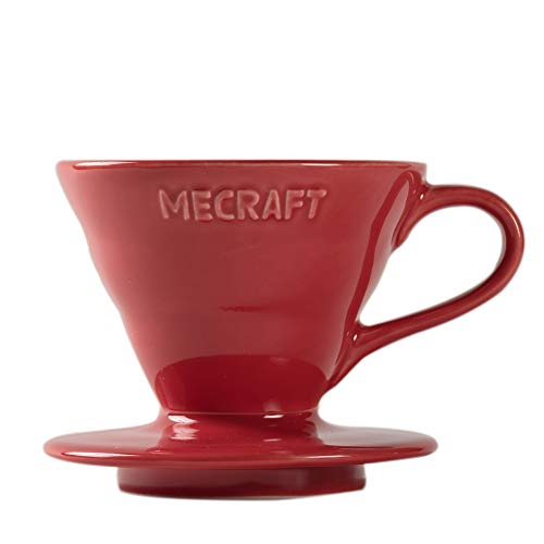 Mecraft Ceramic Pour Over Coffee Dripper Coffee Maker for 1-2 Cups Single Brew Serve Cone Shape Giftbox Size 01(rose red)
