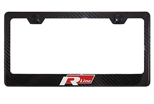 Volkswagen R Line Gloss Black Carbon Fiber License Plate Frame with Cap
