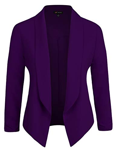 Michel Womens Casual Blazer Work Office Lightweight Stretchy Open Front Lapel Jacket Purple Medium