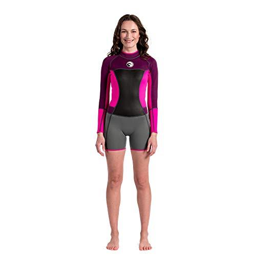 Scubadonkey 1.5 mm Neoprene Shorty Wetsuit for Women | Long Sleeve | for Surfing Scuba Diving Swimming Kayaking Snorkeling (M)