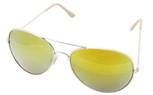 Retro Aviator Sunglasses Mirrored Lens Cop Pilot Shades (Style 20, - Recommended Pilots Sunglasses