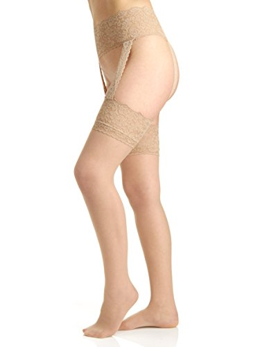 Berkshire Women's Sexyhose Lace Garter with Stocking - Sandalfoot 4909, Nude, C-D