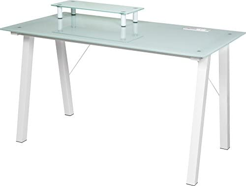 OneSpace Simply Glass Desk with USB and A C Charging and Desktop Printer Stand, Aqua and White