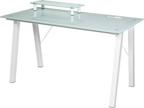 OneSpace Simply Glass Desk with USB and A/C Charging and Desktop Printer Stand, Aqua and White Review