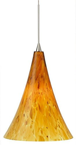 Led Classic Monopoint Pendant (Stone Lighting PD165OPSNL5M Pendant Belle Opal Satin Nickel LED G6.35 6W Monopoint Canopy)