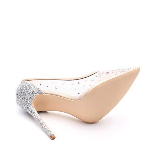 Tacchi scarpe HCBYJ partito 12cm con punta argento bling partito HCBYJ alto donna   2cc22d