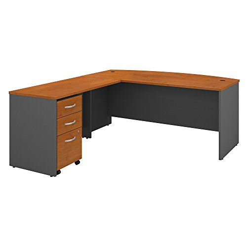 - Bush Business Furniture Series C 72W Bow Front L Shaped Desk with 48W Return and Mobile File Cabinet - Natural Cherry/Graphite Gray 71W X 84D X 30H ERGONOMICHOME BUSH BUSINESS FURNITURE TAA Compliant