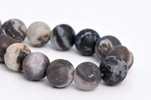 8MM Natural Matte Black Zebra Agate Beads Grade AAA Round Loose Beads 7.5