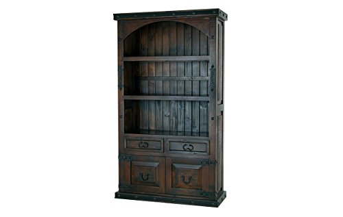 RR Rustic Gran Hacienda Curve Top Cabinet Book Shelf Solid Wood Old World Bookcase