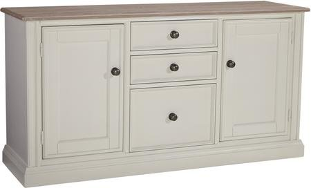 """Ashley Sarvanny H58346 59.63"""" Large Credenza with 2 Doors 3 Drawers Natural Ash Veneer Top and Paint-Grade Solids Construction in Cream"""