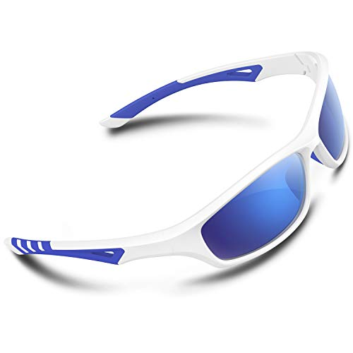 RIVBOS Polarized Sports Sunglasses Driving Comfortable Sun Glasses Shades for Men Women Tr 90 Flexible Frame for Cycling Baseball Running RB842-White&Blue