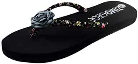 ba02d03e98fb45 Meiliwanju Flip Flops Womens Pool Beach Shoes with Flower Pattern- Floral  Design - Summer Thong
