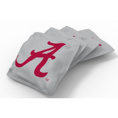 Wild Sports NCAA College Alabama Crimson Tide Gray Authentic Cornhole Bean Bag Set (4 Pack)