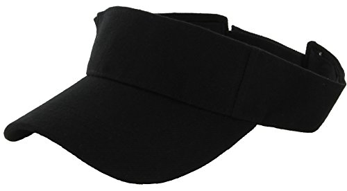 DealStock Plain Men Women Sport Sun Visor One Size Adjustable Cap (29+ Colors) (Black)