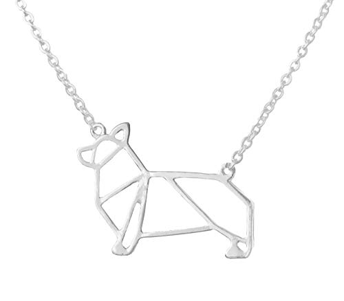 Altitude Boutique Corgi Necklace, Dog Pendant Necklace, Origami Geometric Jewelry (Silver)