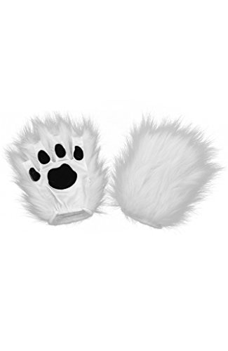 elope White Fingerless Costume Kitty Cat Paws for Adults -