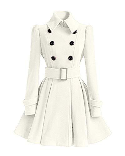Classiche Cappotto Bianca Outwear Bavero Breasted Costume Double Donna Eleganti Termico Lunga Fashion Giaccone Invernali Colori Fit Solidi Slim Manica Trench Calda Cappotti rrI1q