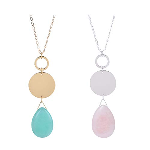 - CONCISE ROYAL Aquamarine Pink Long Pendant Necklace Set for Women Girls,Plated Silver Gold Silver Chain Long nekclaces for Women,32+3 Inch (Aqua Blue and Pink)