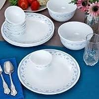 Corelle Livingware Morning Dinner Set  21-Pieces  White/Blue