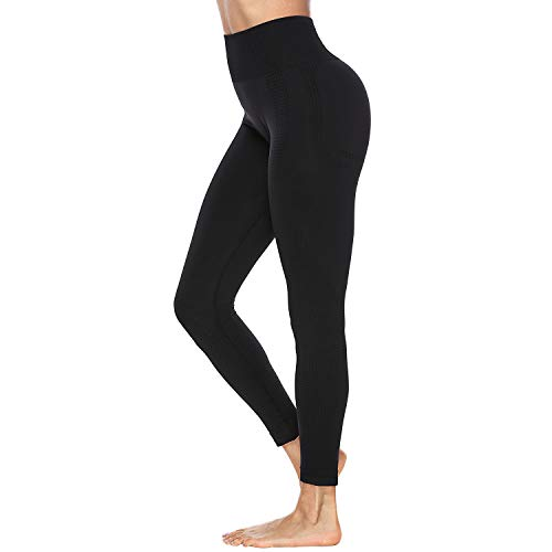 Eunchaes Women's High Waist Yoga Pants Seamless Leggings Tummy Control Workout Running Yoga Skinny Leggings(Black, Medium)