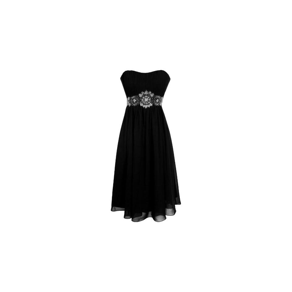 Strapless Chiffon Goddess Gown Prom Dress Formal Knee Length Junior Plus Size