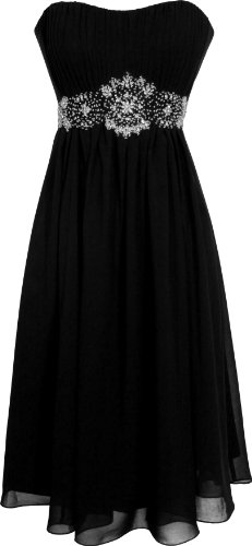 PacificPlex Women's Plus Size Knee Length Strapless Chiffon Goddess Gown (X-Small, Black) (Pacificplex Gowns)