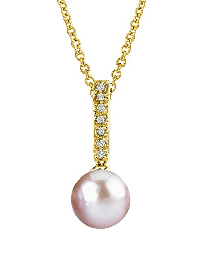 14K Gold Pink Freshwater Cultured Pearl Dangling Diamond Pendant Necklace - AAAA (Golden Pink Pearl Necklace)