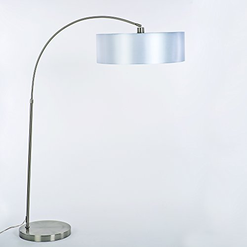 Yosemite Home Decor PFL128PW-SS 1 Light Arc Floor Lamp with Pristine White Shade, Satin Steel Finish