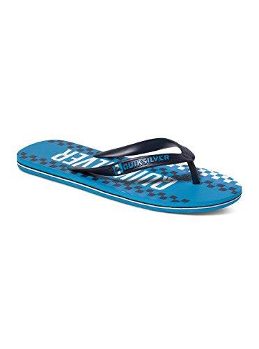 Quiksilver Men's Molokai Wordmark Sandal, Black/White/Blue, 13 M US