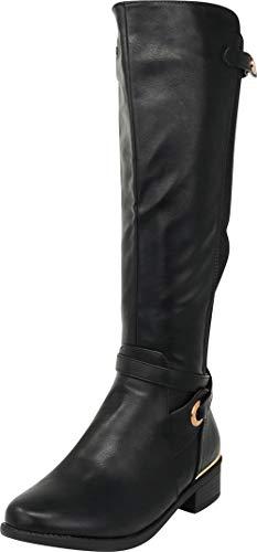 Cambridge Select Women's Round Toe Wraparound Strappy Stretch Knee-High Chunky Low Heel Riding Boot,9 B(M) US,Black PU Black Stretch Calf Footwear