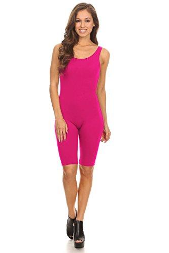 Stretch Cotton Bodysuit Women Sleeveless Stretch Cotton Skinny Solid Knee Length Sport Active Unitard Bodysuit (& Plus) (Large, Hot Pink_Seller) (Pink Suit Cotton)