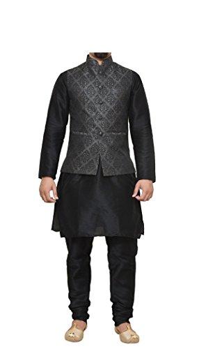 (Mag Men's Black Matching Silk Kurta Churidhar With Black 1st Waistcoat (RG-10044B-46))