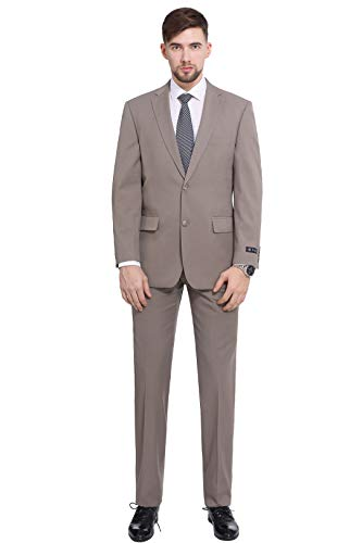 (P&L Men's 2-Piece Classic Fit 2 Button Office Dress Suit Jacket Blazer & Pleated Pants Set Tan)