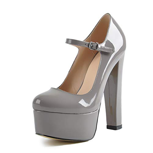 onlymaker Women Sexy Pointed Toe Platform High Block Heel Mary-Jane Pumps Party Wedding Dress Shoes Grey Size 13