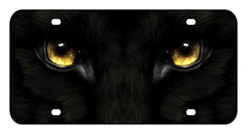 (IRANMUN Black Panther Eyes License Plate Front Custom Novelty Tag Vanity Frame Holder Wrap Wraps)
