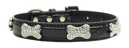 Mirage Pet Products Faux Croc Crystal Bone Collars Extra, Black, X-Small