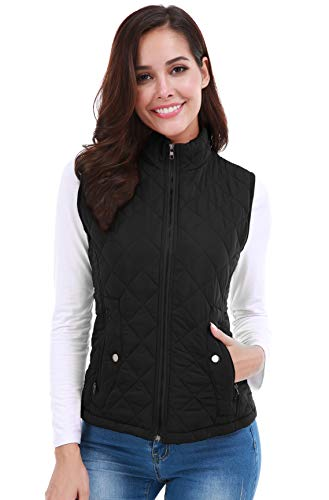 FISOUL Women's Stand Collar Lightweight Gilet Quilted Zip Vest Casual Jacket Black M ()
