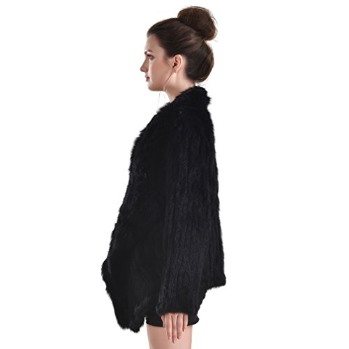 OLLEBOBO New Women's Genuine Rabbit Fur Coat Cardigan Fashion and Warm black by OLLEBOBO (Image #5)