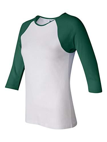Bella Womens Baby Rib Contrast 3/4 Sleeve Raglan T-Shirt in MD in b-BB2000-WHITE-KELLY