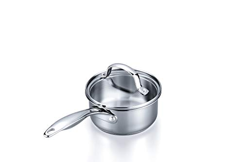 Stovetop Pro Stainless Steel 1 Quart Saucepan with Lid – Dishwasher Safe, Oven Safe; Induction Cookware – 2 Quart Saucepan, 3 Quart Saucepan, Saute, Stockpot, and Frying Pans are Also Available