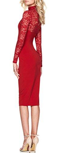 Pacchetto Autunno Vestiti Dell anca Donna Vintage Invernali Da Giovane  Tubino Chic Collo Lunga Slinky Abito Moda Pizzo Rosso Eleganti Alto  Cerimonia ... d7a4e1ed1b9