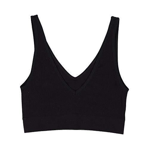 BRABAR Soft V Neck Crop Bra - Wire-Free Comfort Black