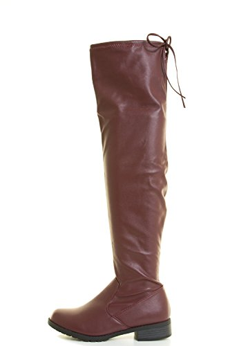 Forever Link Womens Over Knee High Drawstring Tie Lace Up Chunky Thick Heel Boots Burgundy Pu iDwhARR